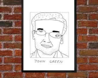 Badly Drawn John Green - Literary Poster - *** BUY 4, GET A 5th FREE***