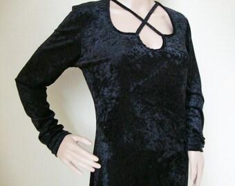 GOTH MAXI DRESS -gothic, grunge, velvet, black, medieval style, 80s, 90s, long, cut out, cross neckline, long sleeve, prom, dark-