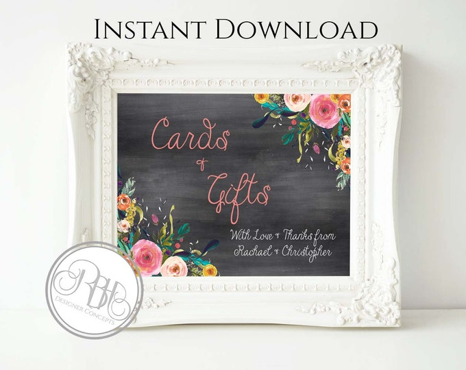 Rustic Chalkboard Cards & Gifts Sign Template - INSTANT DOWNLOAD-DIY Text Editable-Rustic Chalkboard with watercolor flowers-Teresa