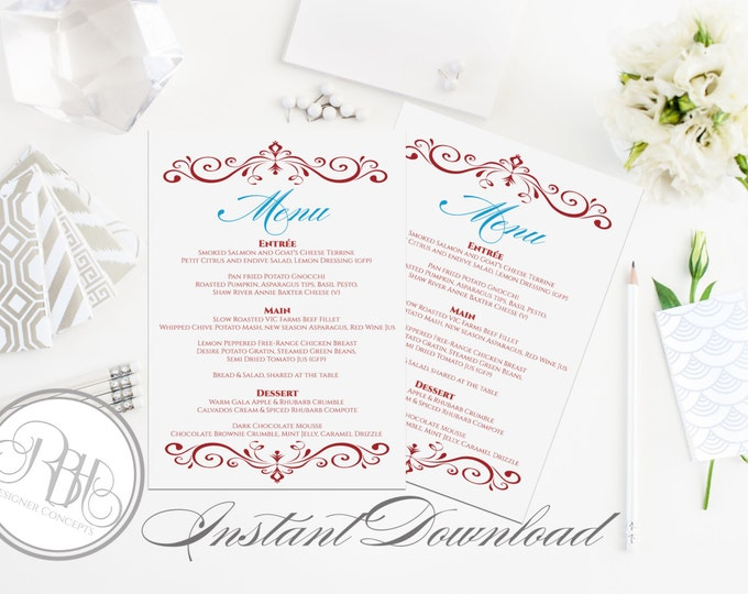 """Red Ruby Menu Dinner Party Template - INSTANT DOWNLOAD- DIY Text Editable-Anniversay Menu Red-""""Lima"""""""