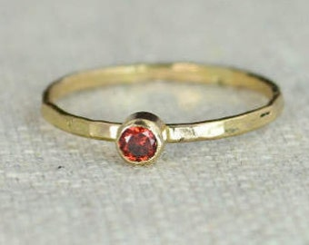 Classic 14k Gold Filled Garnet Ring, Gold Solitaire, Solitaire Ring, 14k Gold Filled, January Birthstone, Mothers Ring, Gold Band, Yellow