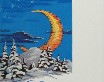 Happy New Year! Vintage Soviet Postcard. Illustrator Kruglov - 1963. USSR Ministry of Communications Publ. Winter, Night, Moon, Snow, Forest
