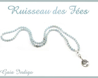 Natural 6mm Aquamarine 108 beads mala necklace with Swarovski crystals and tree of life pendant
