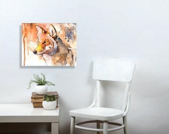 Coyote, watercolor art, desert decor, kitchen wall art, watercolor animal, canvas art, mixed media art, watercolor print, canvas, 11x14, 5x7