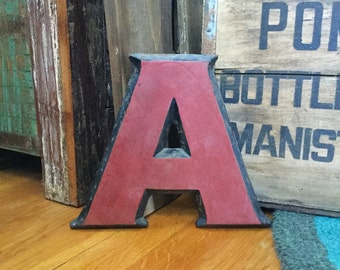 cast iron letter a metal marquee initial industrial salvage large monogram last name letters wall decor antique vintage style