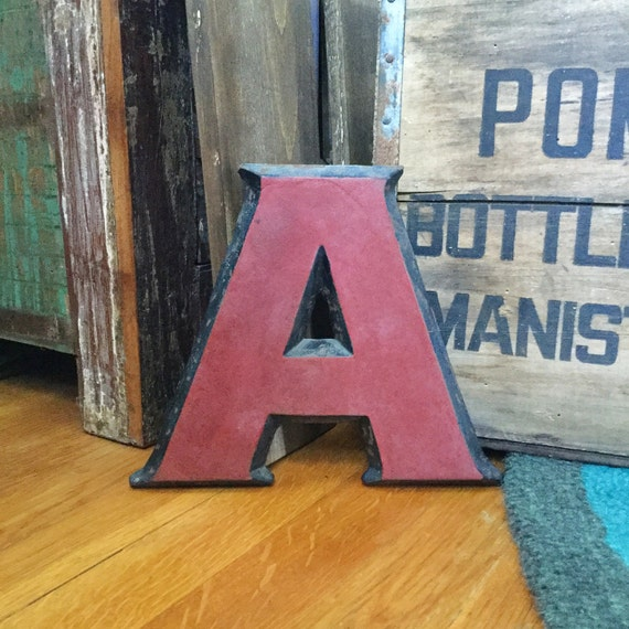 Cast iron letter a metal marquee initial industrial for Last name pictures architecture