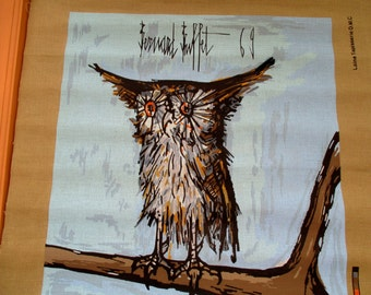 Bernard Buffet 'la Chouette', unused tapestry print, 'the little owl' 1969