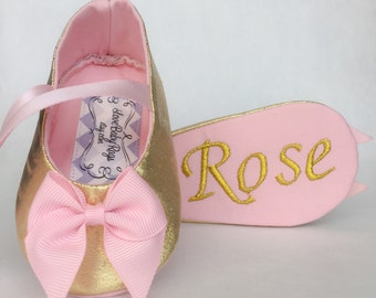 Custom Personalized Baby Girl Shoes, Metallic Gold with pink bow, Free Embroidery Personalization,New Baby, Wedding, Special Occasion