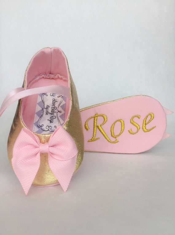 Custom Personalized Baby Girl Shoes Metallic Gold with pink