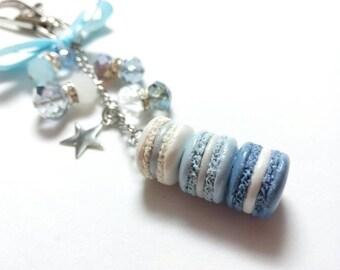 Blue Ice Macaron Planner Charm, French Macaron Keychain, Kikkik planner charm, purse charm, purse jewelry, macaron charm, Macaron Jewelry
