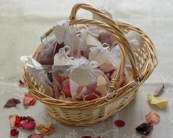 Flower Girl Basket With Garden Mix Rose Petal Confetti | Wedding Flower Girl Basket | Confetti Basket Hand Decorated | Natural Petals