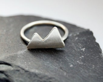 Two Peaks Sterling Silver Ring ~ stacking ring, triangle, geometry, modern, statement, mountain, mountains