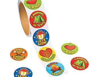 Camp Adventure is out There Fun Stickers / Party favors/