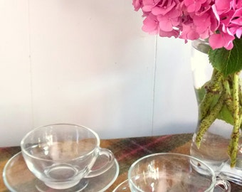 Vintage French Arcoroc Clear Glass tea sets, Set of 2 Cups and Saucers, Afternoon tea