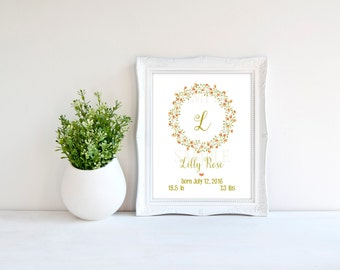 Nursery decor, floral wreath monogram, custom baby monogram nursery, letter wall art, personalized nursery art, baby girl, photo prop, 8x10