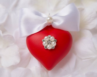 Christmas heart. - Red heart - Wedding favor ornament - Valentine's day heart - Handmade Christmas ornaments. Glass heart