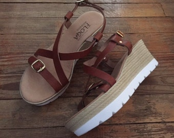 Espadrille wedges with white sole,FREE SHIPPING in the USA,Greek leather sandals for Women,Platform sandals,wedge,hill,women sandals - Lydia