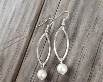 Pearl Tear Drop Earrings, Tear Drop Earrings, Charm Earrings