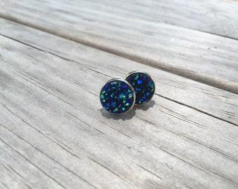 Dark Blue Druzy Earrings, Faux Druzy Earrings, Bridal Druzy, Stud Earrings