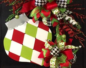 Harlequin Ornament Christmas Wreath, Christmas, Door Decor
