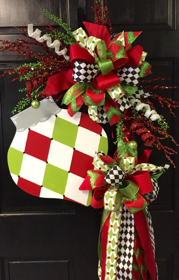 Items Similar To Harlequin Ornament Christmas Wreath