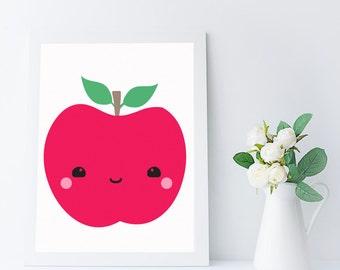 printable nursery art - kawaii fruit - apple print - kitchen art - kitchen wall art printable - food art - kitchen printable - fruit print