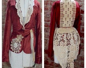 Victorian Jacket, Victorian Rust Velvet blazer, Antique crochet, Antique linen