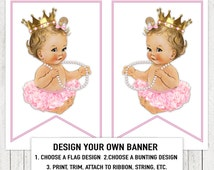 Pink Gold Ballerina Princess Pearl Baby Shower Banner Bunting Flags Blonde Pink Ballerina Tutu Princess Pearl Baby Shower Banner