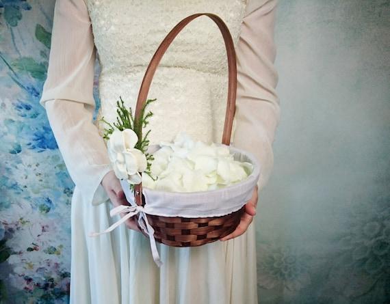 Flower Girl Baskets Green : Items similar to flower girl basket burlap lace sola