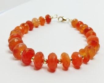 Carnelian Bracelet Orange Gemstone Bracelet Gold Filled Stone Jewelry Unique Gift for Her Carnelian and Gold Bracelet Pretty Orange Jewelry