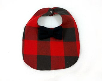 Buffalo Plaid Baby Bib - Bowtie Bib - Lumberjack Baby Bib - Dribble Bib - First Birthday Gift - Unique Baby Shower Gift - Hipster Baby