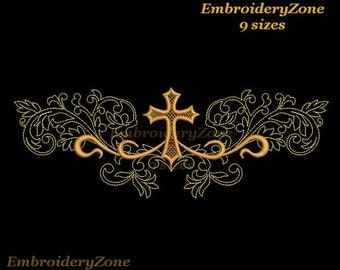 Religious cross with floral curz machine Embroidery design not applique. Hoop 4x4 5x7 6x10 7x11. 9 sizes. Religious cross decor