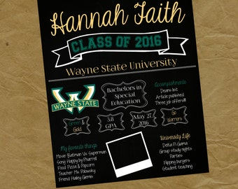 GRADUATION  Chalkboard Poster - Any Colors- COLLEGE High School