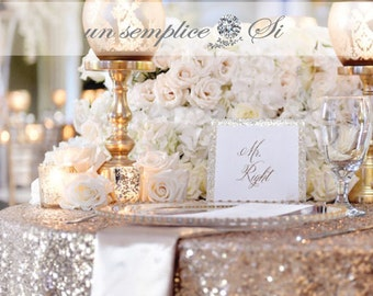Sequin Tablecloths,  Rose Gold Sequin Runner, Sequin Overlay  LARGEST COLOR and SiZE SELECTION