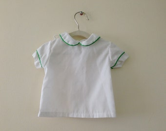 White Vintage Baby Shirt with Green Piping - Size NB