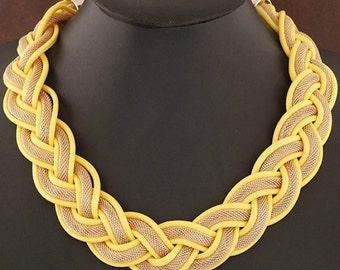 Yellow Chic Braided Statement Necklace