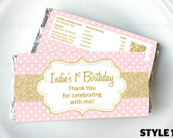 Pink Gold Chocolate Wrapper, candy, pink and gold party favors, Customized, Personalised, Birthday Party, Digital, Printable, hershey, aldi