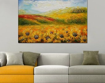 Large Oil Painting, Sunflower Painting, Large Art, Wall Art, Canvas Art, Abstract Art, Landscape Painting, Original Painting, Large Wall Art