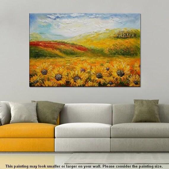 gro e lgem lde sonnenblumen gem lde gro e kunst wand von topart007. Black Bedroom Furniture Sets. Home Design Ideas