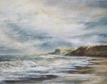 Sandsend Beach near Whitby North Yorkshire Coastal Signed Limited Edition Print from Original Oil Landscape Painting
