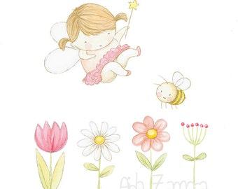 "Nursery Art ""FAIRY"" Art Print for Girls, Nursery Illustration."