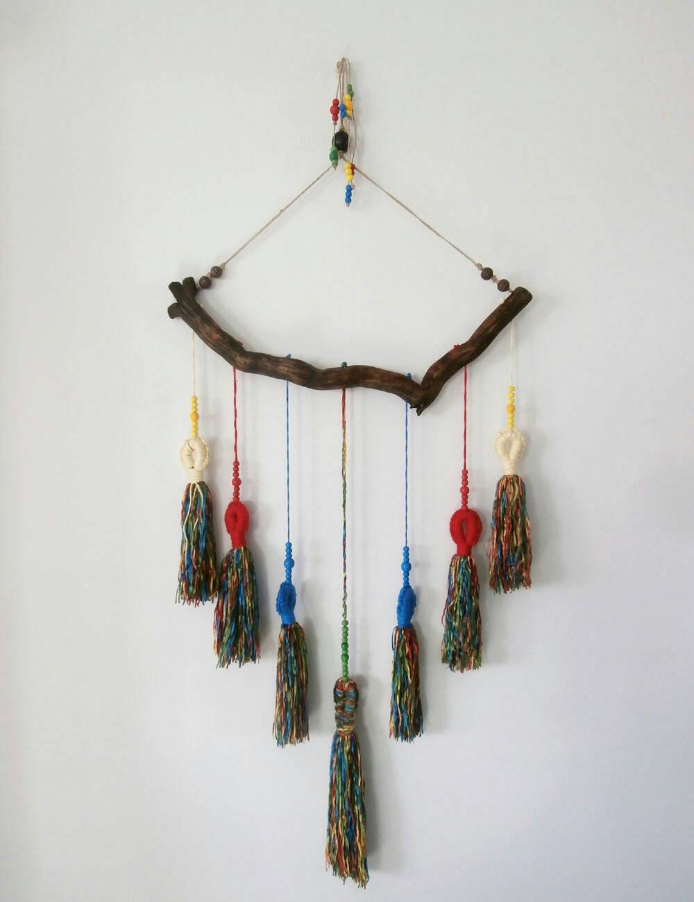 Wall Decorations Boho : Tassel wall decor boho hanging tassels on wood