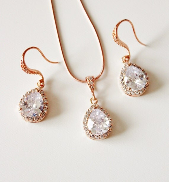 Rose gold bridal jewelry set pink gold by dreamislandjewellery for Pink wedding jewelry sets