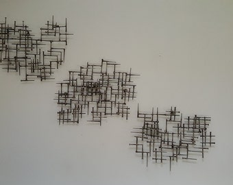 Abstract Metal Wall Art Triptych Welded Nails & Bronze