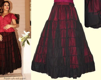 Black & Red Victorian Petticoat Skirt - Ready To Ship