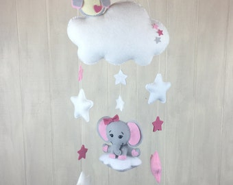 Baby mobile - owl mobile - elephant mobile - cloud mobile - star mobile - pink and grey - custom colors available - baby mobiles