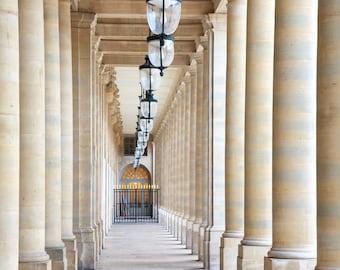 Paris photography, colonnade, Paris architecture, covered passage, French wall art, Paris decor, home decor, fine art print