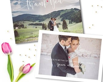 5x7 Wedding Thank You Cards Photo Template - Thank You Photocard - Photoshop Template for Photographers - WD001 - instant download