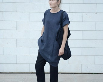 Wide and loose oversized minimal linen tunica/dress/shirt in Charcoal Grey. Women's dress. Washed linen dress.