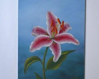 Original 8x10' acrylic realistic stargazer lily painting, flower painting, kitchen art, floral art, still life painting, flower painting